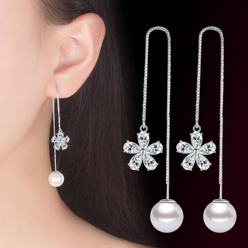 Femmes 925 Argent Sterling CZ Zircon Fleur Perle Tassel Chaîne Dangle Earrings