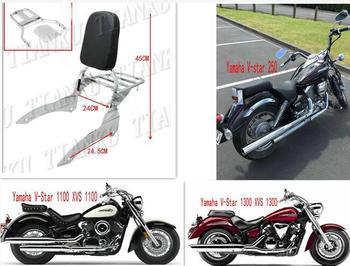 Wysokiej jakości motocykl Chrome oparcie półka na bagaże montowana za oparciem kierowcy dla Yamaha v-star XVS 250 1100 1300 tanie i dobre opinie TIANKU 24cm 45cm 24 5cm V-star 250 XVS 1100 1300 4 5kg Systemy carrier Chrome plated steel and Black synthetic leather Motorcycle Backrest Sissy Bar Luggage Rack