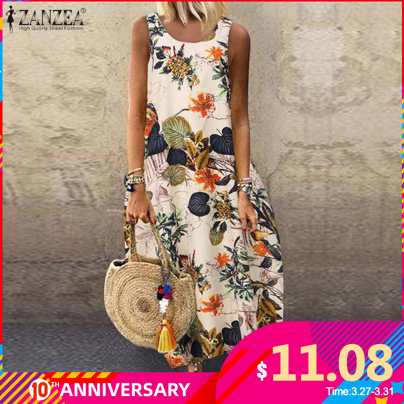 ZANZEA Summer Dress Women Vintage Sleeveless Floral Printed Long Dress Cotton Linen Sundress Baggy Beach Vestido Sarafans 5XL