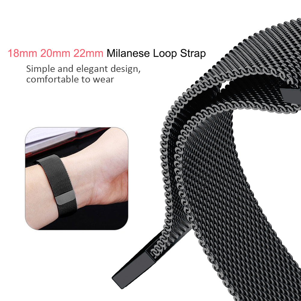 22mm 20mm 18mm Milanese Strap For Gear Sport/S2/S3 Frontier Classic Band Huami Amazfit Bip Strap Huawei GT Galaxy Active 42 46mm