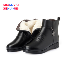 Krasovki Genuines Wool Women Snow Boots Warm Genuine Leather Fur Shoes Plush Ankle Platform for Winter