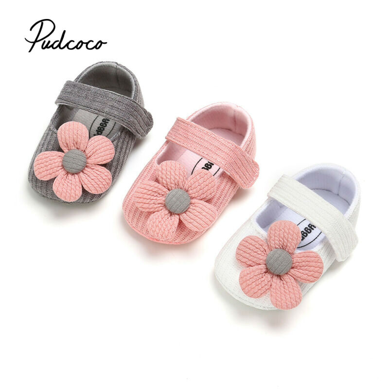 Pudcoco Knitted Shoes Newborn Baby Girl Flower Autumn Striped Floral First Walker Sneakers Shoes Toddler Classic Casual Shoes