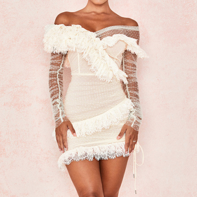 Ruffles Sexy Deer Lady Long Sleeve Off Shoulder Dress Summer White Lace Dress Bodycon Celebrity Night Club Party Polka Dot Dress 2
