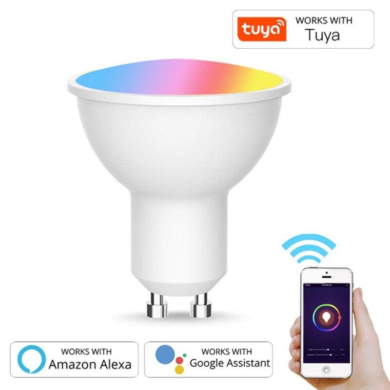 GU10 Точечный светильник, Wi-Fi, умный светильник лампа 5 Вт RGB + CW 2700-6500K смарт-лампа дистанционного Управление RGB светильник для Alexa Google Home