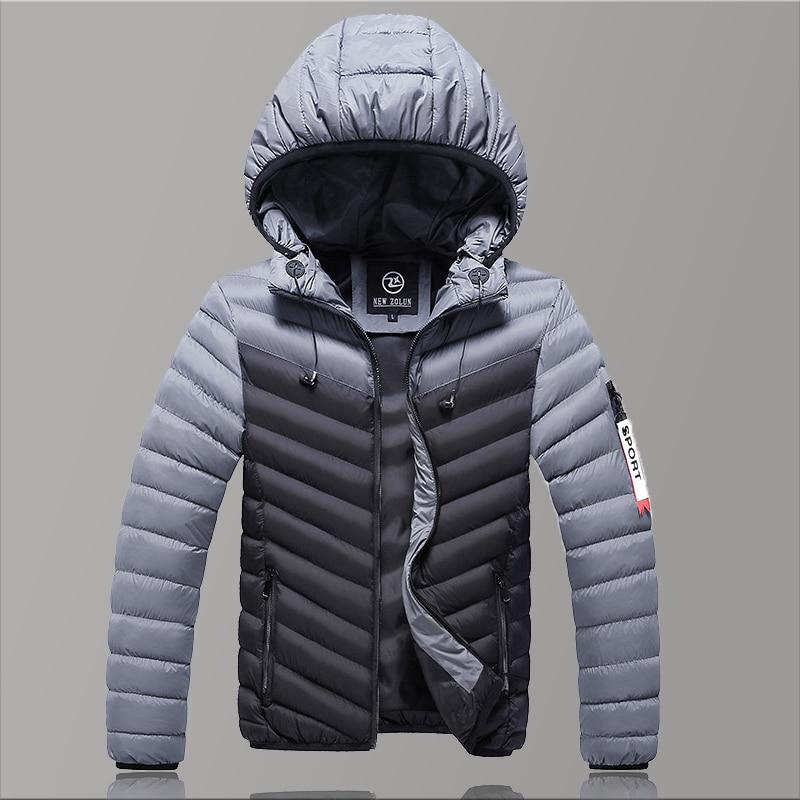 Warm   Parka   Solid Causal Winter Jacket Men 2019 Fashion Water Proof Winter Jacket Men Hooded Black/Grey Brand Men Coat Slim Fit