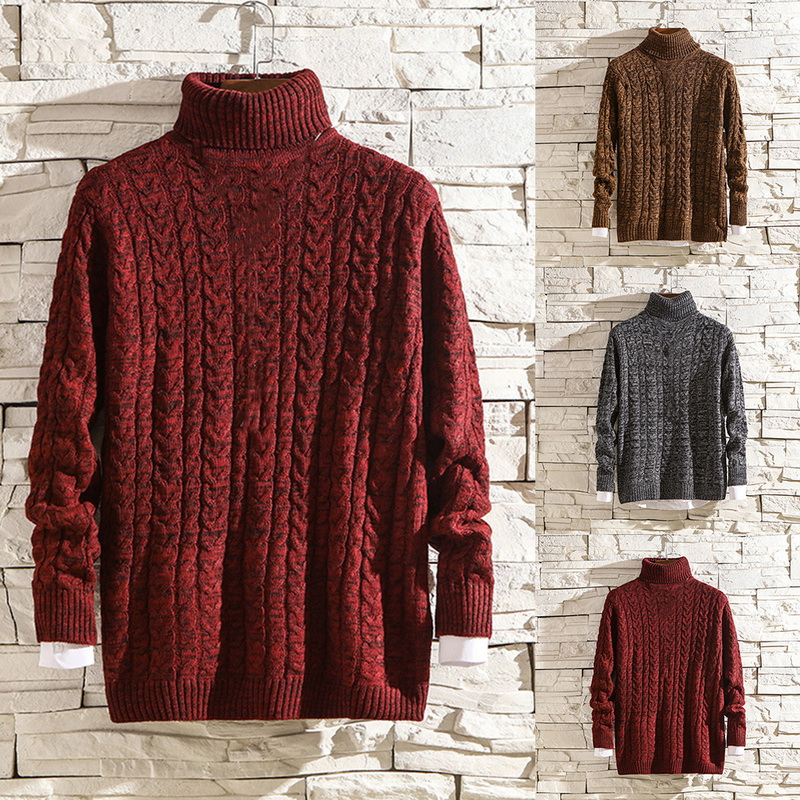 Winter Solid Color Cable-knit Turtleneck False Two-piece Sweater High Neck Thick Warm Slim Fit Pullover Men Sweater