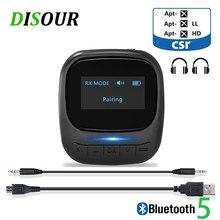 Disour display oled b36 bluetooth 5.0 receptor transmissor de áudio rca 3.5mm aux crs aptx ll adaptador sem fio estéreo para tv computador do carro