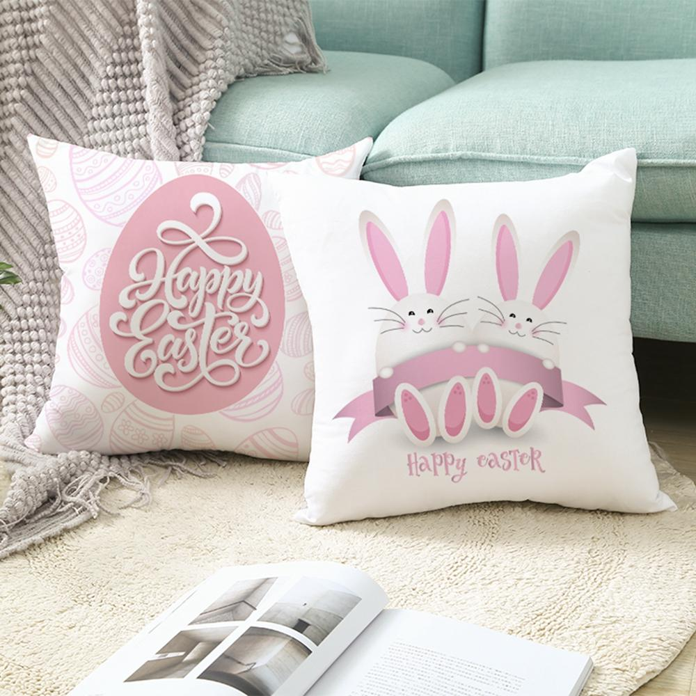 PATIMATE Easter Cushion Cover Happy Party Easter Decoration Bunny Rabbit Eggs Easter Decoration For Home Party Decor Gift