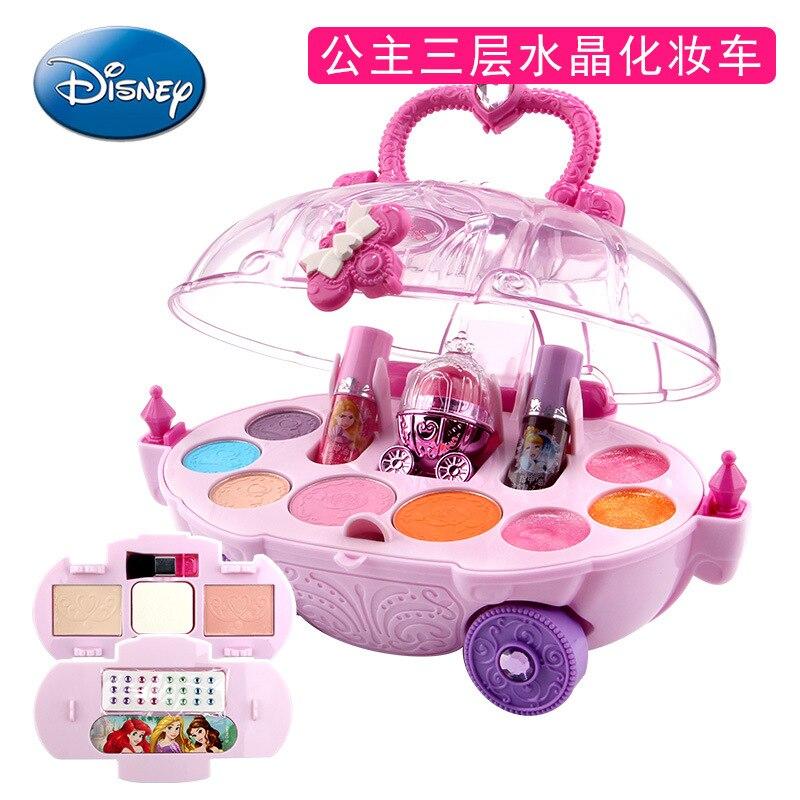 Дисней Замороженные девушки Косметика принцесса макияж коробка чемодан губная помада детские игрушки дети ролевые игры косметический наб