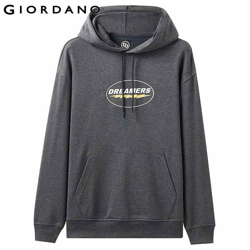 Giordano Men เสื้อพิมพ์ Hoodie Kanga กระเป๋า Drawstring เล็กน้อย Stretechy Moletom Masculino 91099790