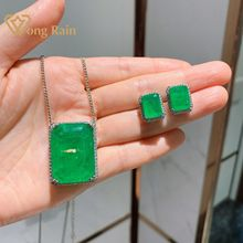 Wong Rain Vintage 100% 925 Sterling Silver Emerald Gemstone Earrings/Pendant/Necklace Wedding Cocktail Jewelry Sets Wholesale
