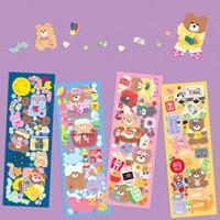 Pegatinas Kawaii de oso de Color caramelo para álbum de recortes, funda de teléfono móvil portátil, decoración de papelería plana, pegatina coreanas, 1 ud.