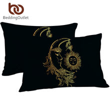 BeddingOutlet Gold Moon Accompanys Sun Pillowcase Vintage Decorative Pillow Case Golden Pillow and Black Cover Boho Bedding 2pcs(China)
