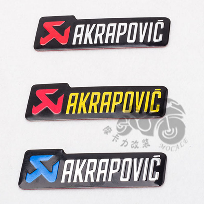 New Universal 100X30mm Aluminium 3D Label Stickers Akrapovic Exhaust Muffler Sticker Silencer Decals For Motorcycle