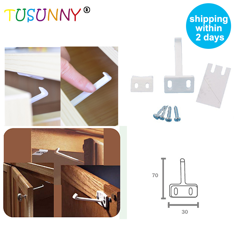 TUSUNNY 4 Pcs Per Lot Infant Protection Product Castle For Children Baby Safety Latch For Drawers Furniture Locks From Children