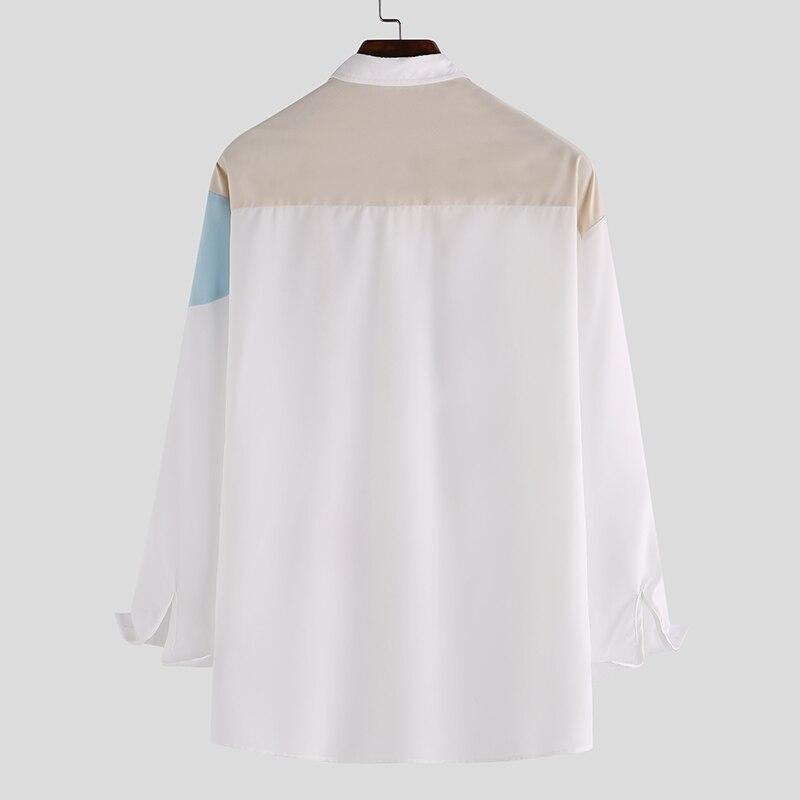 INCERUN Printed Men Shirt Fashion Long Sleeve 2020 Brand Casual Patchwork Chic Hawaiian Shirts Men Lapel Streetwear Camisa S-5XL