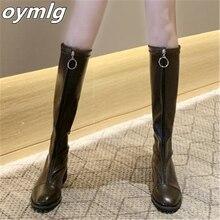 Женские теплые сапоги выше колена повседневные на низком каблуке