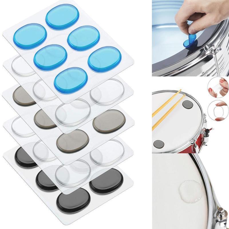6pcs/set Drum Mute Pads Drum Damper Silicone Pads Drum Mute Shock Absorbing Pad Transparent Percussion Instrument Accessories