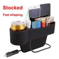 Universal organizador de coche para espacio de asiento caja de almacenamiento de cuero PU caja bolsillo lateral para asiento de coche hendidura para teléfono monedas llaves de cigarrillos, tarjetas