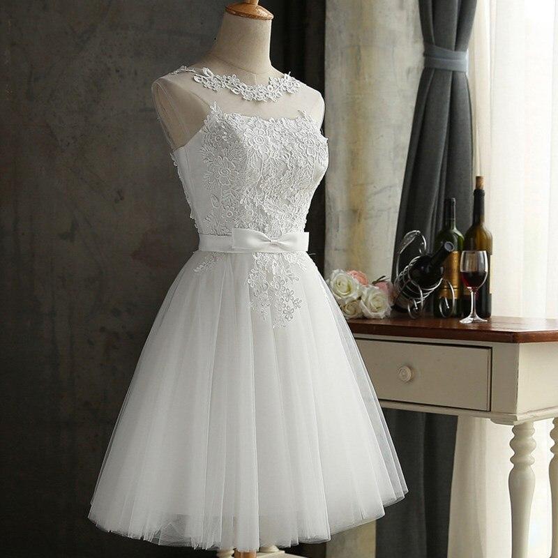 2019 robe de soirée courte en dentelle grande taille blanc sans manches dos nu bal élégant soirée robe d'été femmes robes de noël