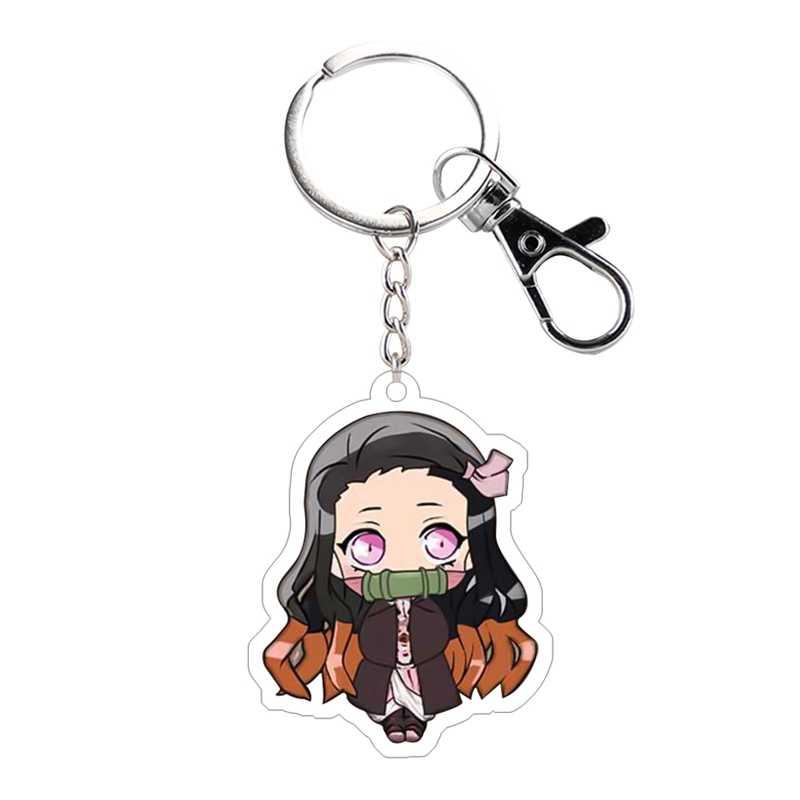 Anime Demon Slayer: Kimetsu ไม่มี Yaiba Key Chain Kamado Nezuko คอสเพลย์อะคริลิคจี้พวงกุญแจ