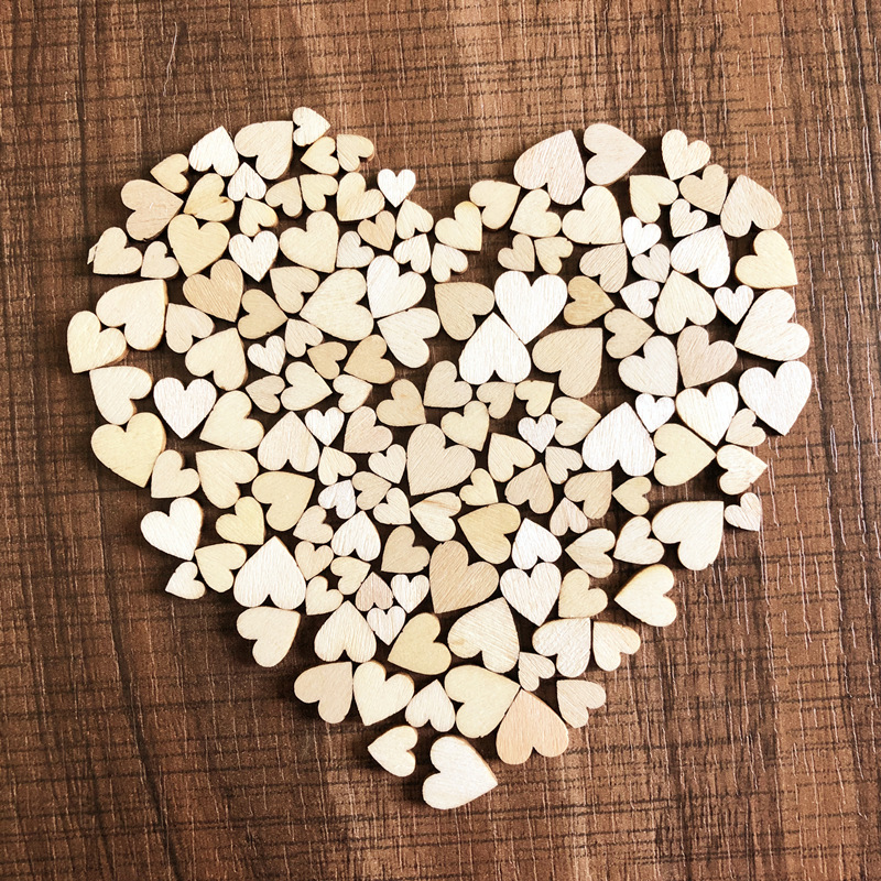50pcs/Bag Rustic Heart Wood For Crafts Love Wedding Table Scatter Wooden Decoration Wood Decoration DIY Wood Gift Decorations