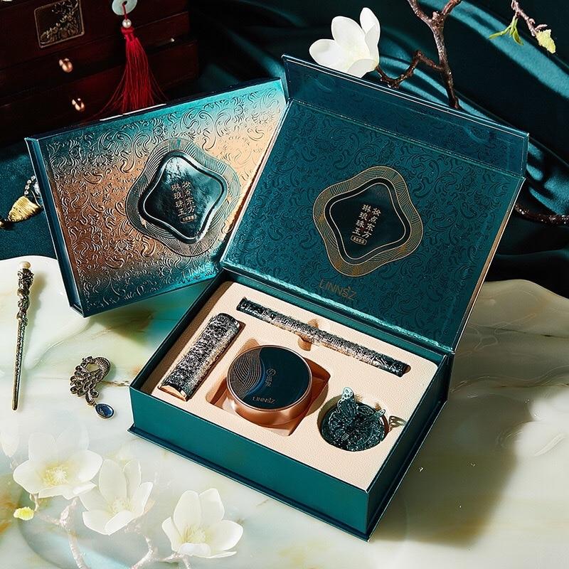 Retro Chinese Style Makeup Set Mushroom Head Air Cushion Velvet Lipstick Black Eye Liner Pencil Gift Box Women Makeup Cosmetics