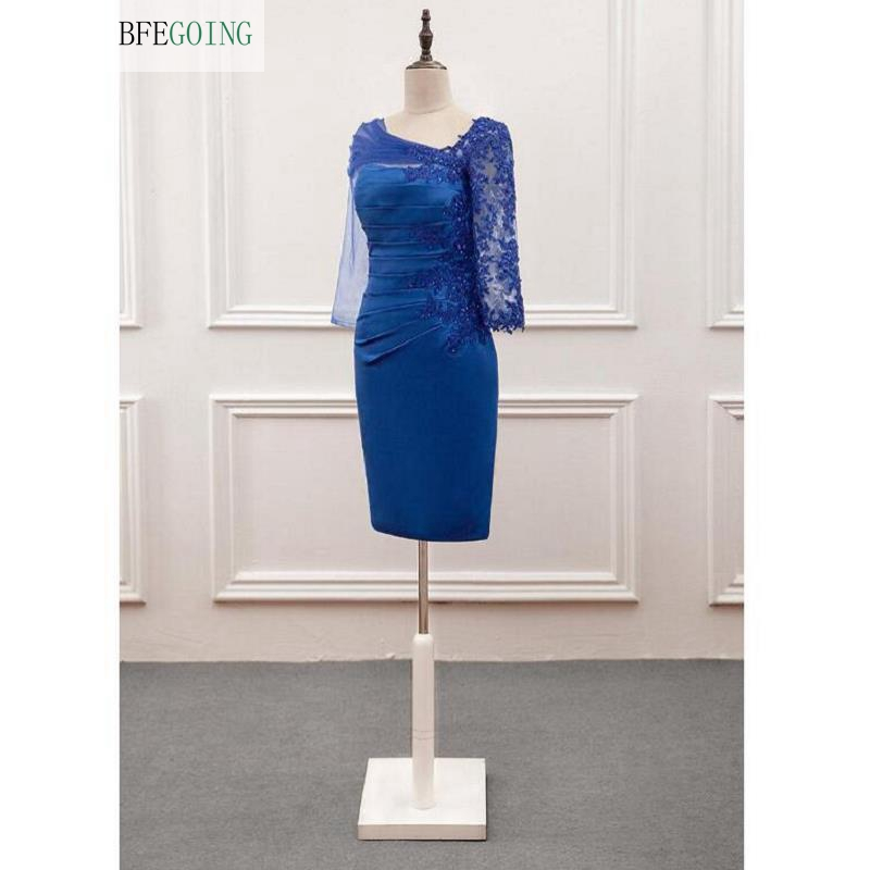 Royal Blue Satin Lace Appliques Knee-Length 3/4 Sleeves Mother Of The Bride Dress Custom Made