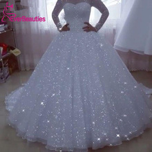 Ball-Gown Bride-Dress Robe-De-Mariee Long-Sleeves Glittery Princess Plus-Size Vestido-De-Noiva