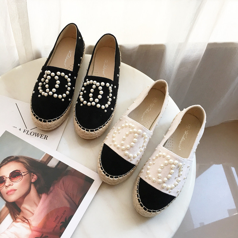 Casual Women Shoes Fashion Lady Hemp Espadrilles Women Loafers For Spring Autumn String Pearls Lady Boat Shoes Size 35-40