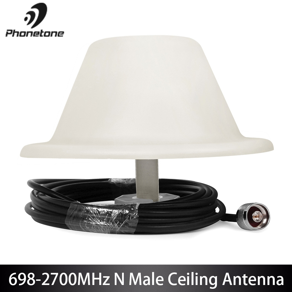 GSM 4G LTE 698-2700MHz 5dBi Indoor Ceiling Antenna Omni-directional For Cell Phone Signal Booster N Male Connector With 5m Cable
