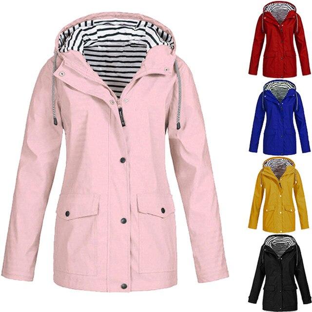 Womens Solid Rain Jacket Outdoor Jackets Waterproof Hooded Raincoat Windproof Plus blouse Hooded long Raincoat Windproof