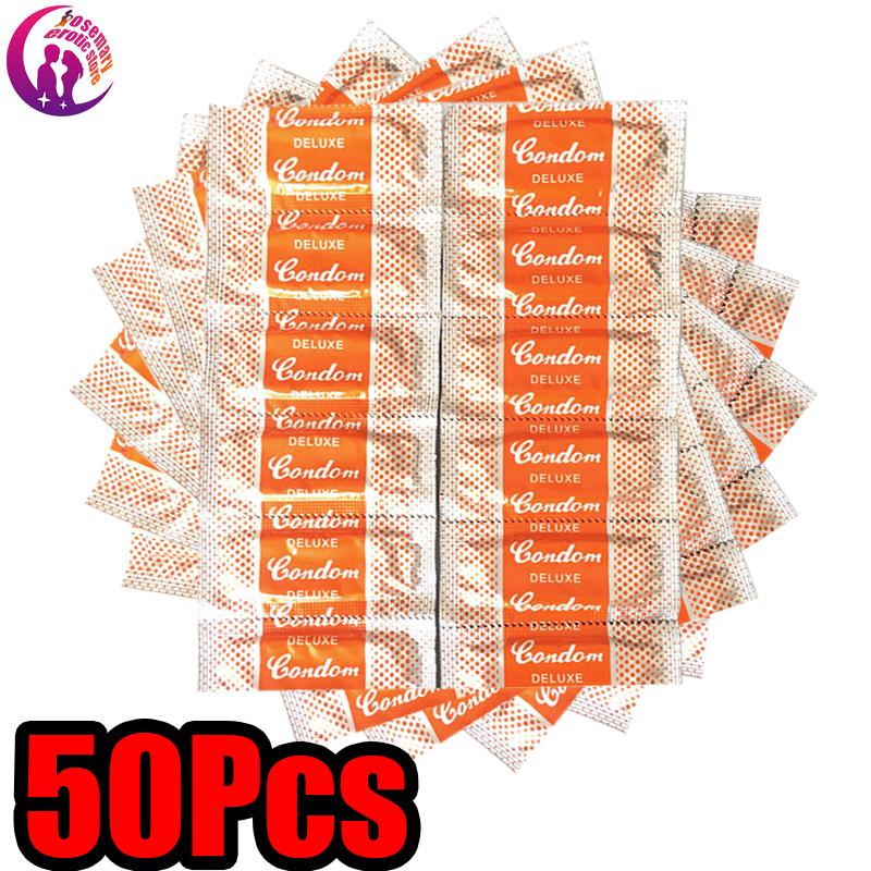 Adult Large Oil 50 Pcs Condoms Intimate Erotic Smooth Lubricated Condoms For Men Penis Contraception  Sex Toys Random Color