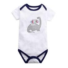 Bodysuit Short-Sleeve Newborn-Baby Boys Cotton Cartoon Summer Fashion Dinosaur Print