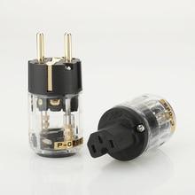 Ein paar Gold überzogene HiFi P 029E/C 029 EU Standard Power Stecker IEC stecker für audio power kabel