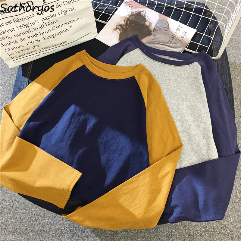 T-shirts Women Long Sleeve Korean Style Simple All-match Patchwork Womens Elegant O-Neck Leisure Female Students Lovely Trendy