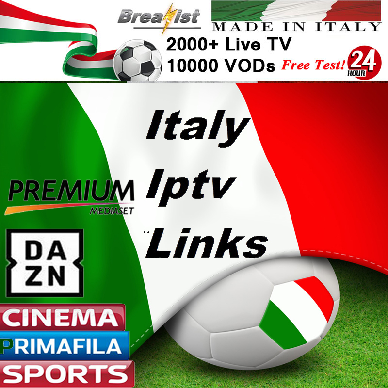 Italia IPTV M3U Subscription Iptv French UK 2000+Italy Mediaset Premium Dazn VODs Sports Adult Channels Android TV Box Enigma2