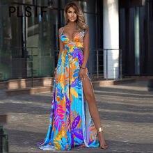 Verão v neck alta divisão longo maxi vestido praia impressão elegante sexy vestidos longo femme