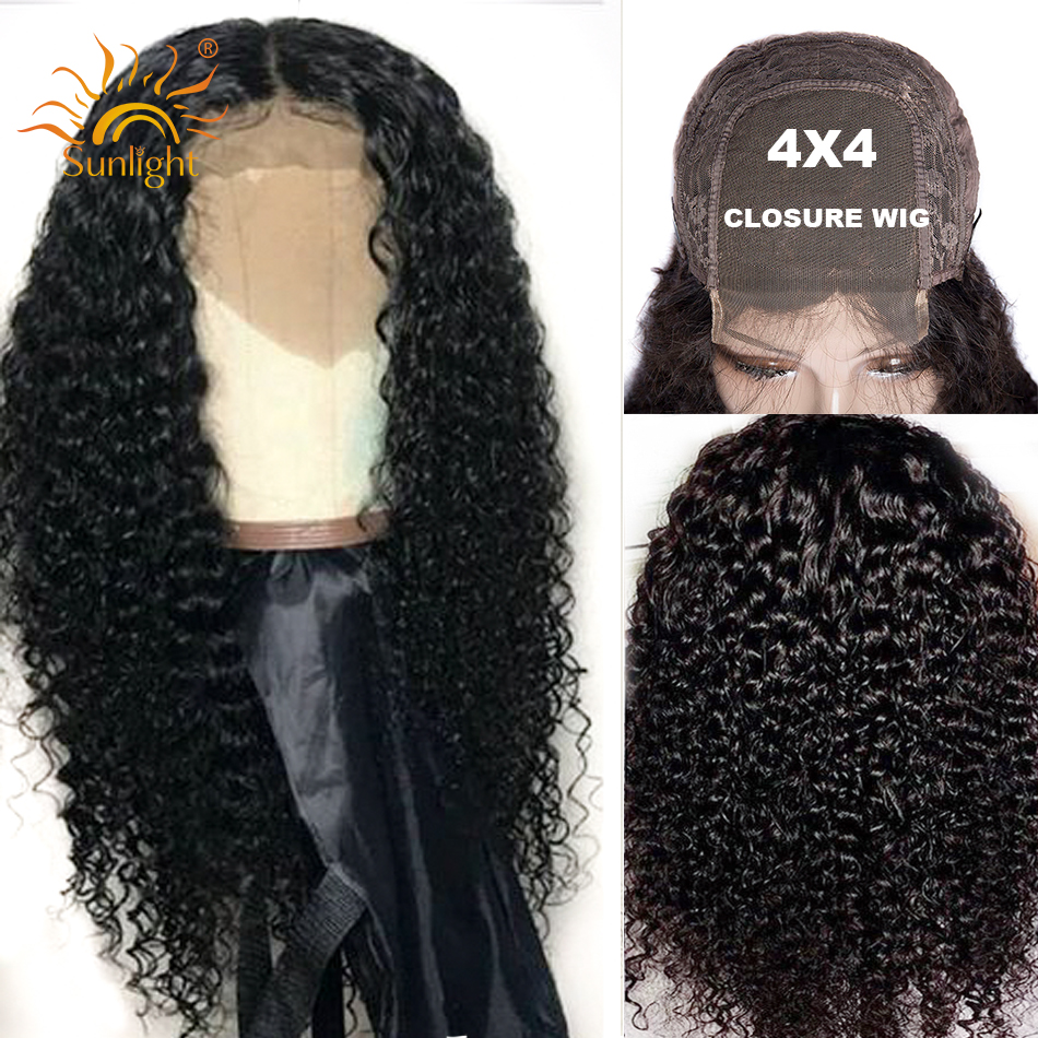 Malaysian 4x4 Closure Wig Curly Human Hair Wig 150 Density Lace Closure Wigs For Black Women Sunlight Remy Pre Plucked Lace Wigs
