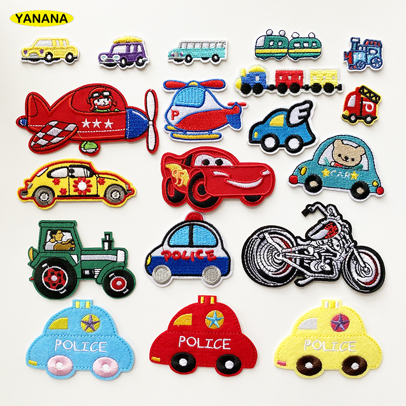 vehicle Car train motorcycle Iron on Embroidery Cloth Patch For Girls Boys Clothes Stickers Apparel Garment Accessories