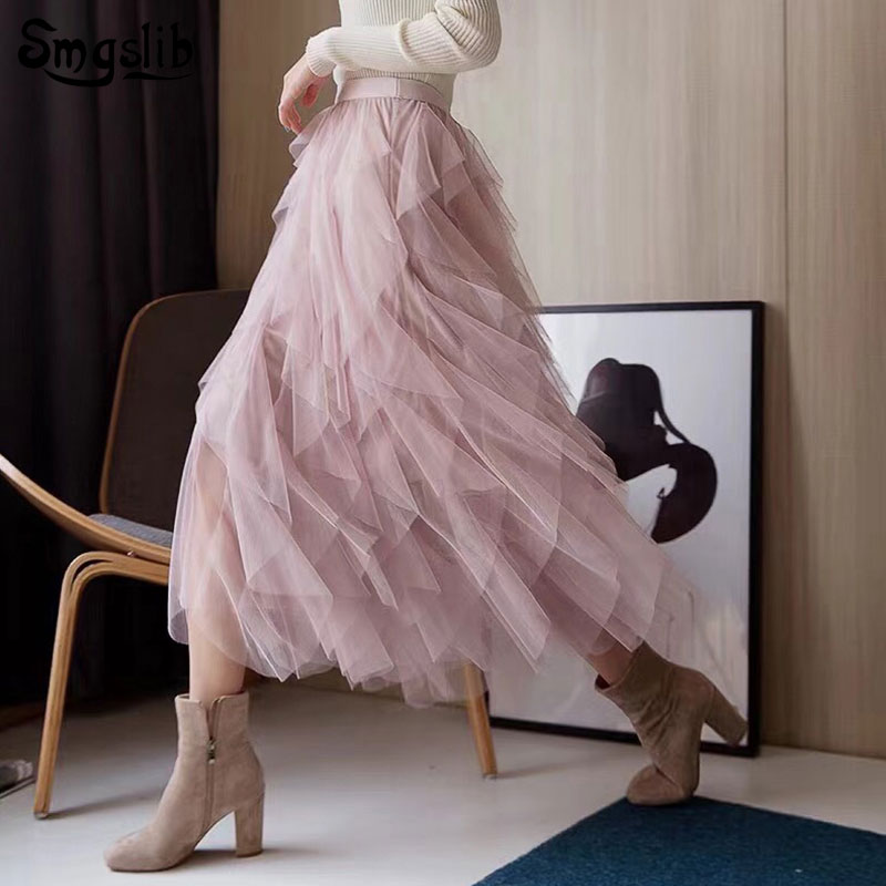 2019 Fashion Tide New Spring Autumn skirt elegant High Waist black pink lrregular Mesh split Joint Half-body Skirts