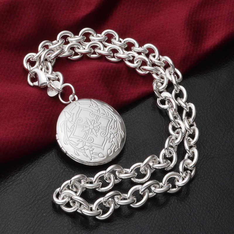 Charmhouse טהור כסף נשים עגול תליון קסם צמיד שרשרת 2pcs Vintage תכשיטי אביזרי Bijoux