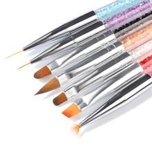 7 Styles Rhinestone Acrylic Handle Brushes Nail Art Line Flower Painting Coating Shaping Flat Fan Angle Pen