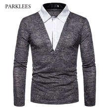Fake Two-Pieces Men's Polo Shirt 2019 Brand New Long Sleeve Layered Polos Men Casual Slim Fit Street Wear Polos Hombre Dark Gray(China)