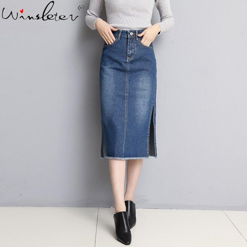 Винтажная юбка миди, джинсовые джинсы, консервативный стиль, футболка, юбка с высокой талией, Боковым Разрезом, до середины икры, летняя одежда для женщин, женская, B02916B|Юбки|   | АлиЭкспресс