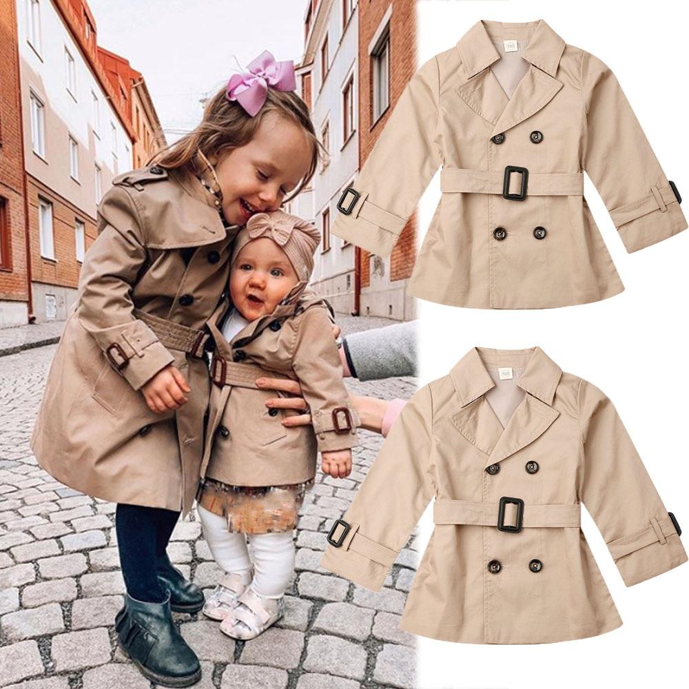 2020 Toddler Kids Boy Modis Trench Coat Autumn Clotehs Windbreaker Children Button Belt Outerwear Coats Kids School Wear