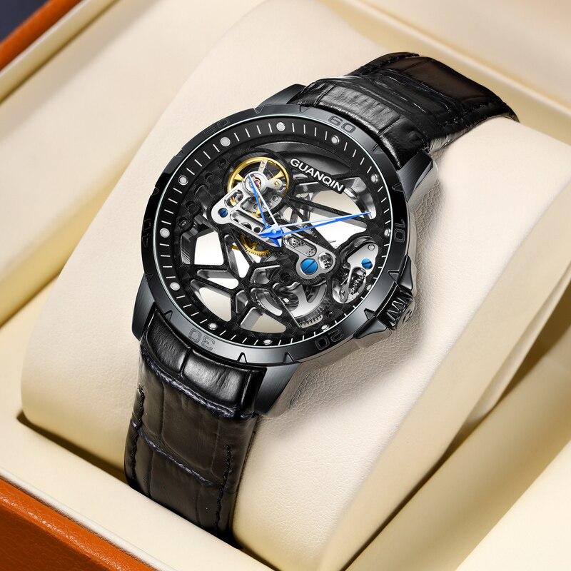 Guanqin Men's / Men's Watch Top Brand Luxury Automatic / Mechanical / Hollow Luxury Watch Men's Business Watch Men Reloj Hombre