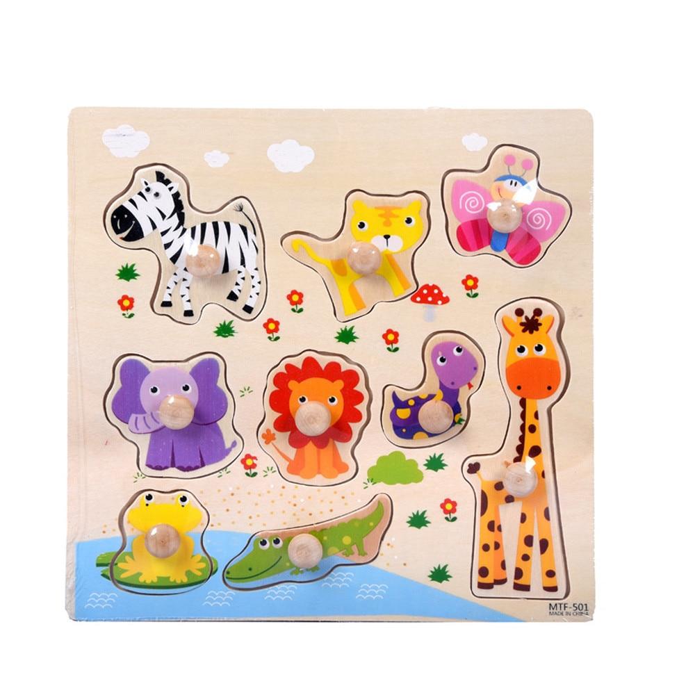 9 шт Деревянный животные пазл головоломки раннего обучения Детские развивающие Игрушки для детей, Игрушки для детей, Brinquedos Игрушки