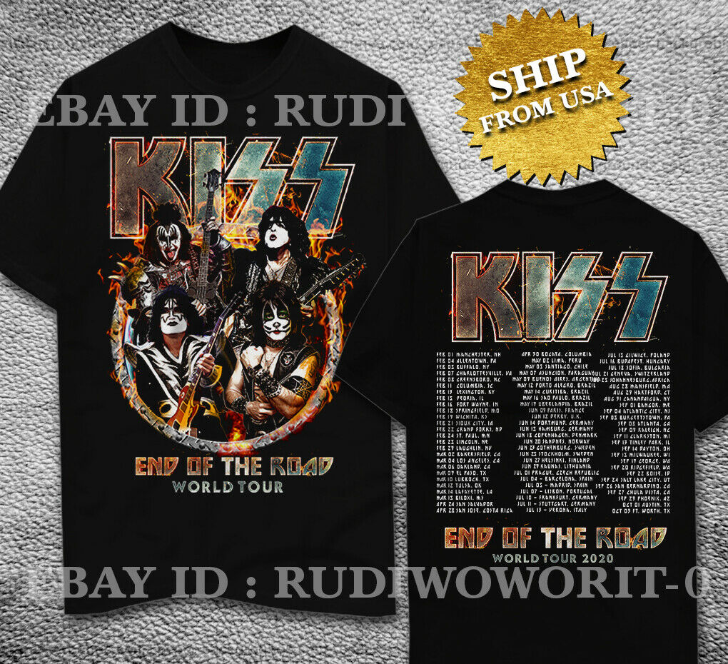 Kiss End Of The Road World Tour 2020 T-Shirt Leg 5 - 8 Complete Dates S - 2Xl Hoodie Hip Hop Sweater Top
