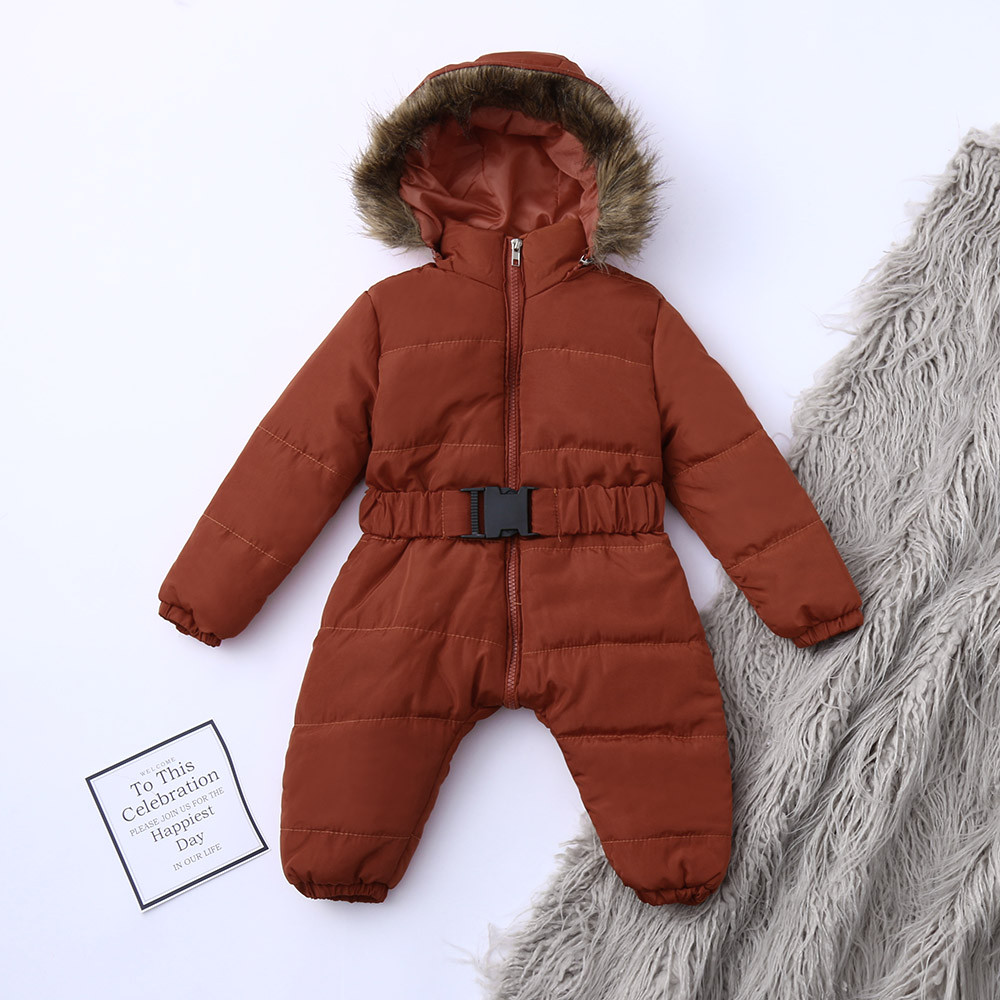 Baby Down Jas Jumpsuit Winter Pasgeboren Baby Jas Winter Fashion Solid Dikke Hooded Warme Romper Winter Warm Bodysuit 1